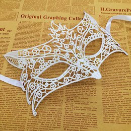Celebrity Masquerade Ball UK - 10Pcs Black Mask For Lady Venetian Party Halloween Ball Prom Masquerade Sexy Half Face White Masks