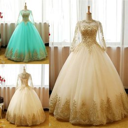 Long maternity baLL gowns online shopping - Vestido de Novia Ball Gown Quinceanera Dresses Champagne Lace Prom Dresses Sexy Sheer Neck Long Sleeves Gold Appliques Tulle Prom Dresses