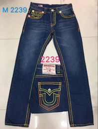 Wholesale High quality NEW hot Men s Robin Rock Revival Jeans Crystal Studs Denim Pants Designer Trousers Men s size