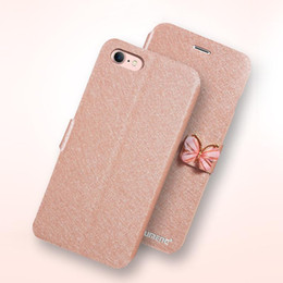 Iphone Case Butterfly Pu NZ - Butterfly Buckle Phone Wallet Case PU Leather Silk Clamshell Grain Card Slot Flip Cover For Iphone X 8 7 6 6s Plus OPPBAG Aicoo