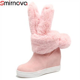 035de6fa44569 Smirnova new arrival 2018 mid calf boots unique women winter snow boots  round toe 10 cm high heels platform suede leather