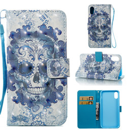 Inch Phone Wallet Case Canada - 3D Wallet Leather Flip For 2018 New iPhone 6.1 6.5 inch X XS 9 8 Plus Samsung Note 8 S9 Cartoon Flowers Case Phone Bag Cover Owl Skull