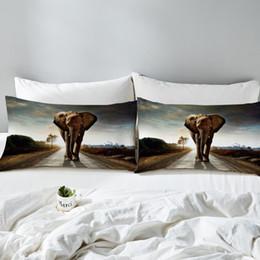 plain beds 2019 - 3d Elephant Pillowcase Indian Animal Printed Decorative Pillow Case Body Pillow Cover Boys Kids Bedding 2pcs cheap plain