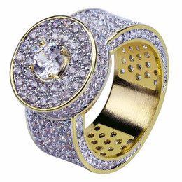 Chinese  New Design Gold Silver Color Plated Ring Micro Paved 2 Row Chain Big Zircon Shiny Hip Hop Finger Ring for Men Women BR021 manufacturers