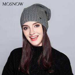 Fashion Beanies NZ - MOSNOW Hat Female Autumn Winter Fashion 2018 Brand New Classic Stripe Solid Knitted Warm Women's Hats Skullies Beanies #MZ738 S1020