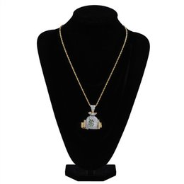iced out jewelry UK - mens necklace hip hop jewelry with Zircon iced out chains Vintage High grade new Dollar Pendant necklace stainless steel jewelry wholesale