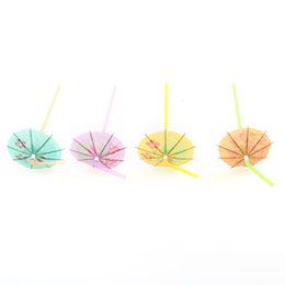 umbrella packing UK - 50pcs Pack Umbrella Fruit Juice Cocktail Straws Mixed Color Plastic BBQ Hawaiian Theme Straws Party Marriage Wedding Decoration