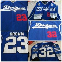 Custom Limit  77 Jeff Carter  8 Drew Doughty 73 Toffoli 27 Martinez 32  Toews 23 Brown LA Kings LA Dodgers Blue Pride Hockey Jersey b51ced9ace9