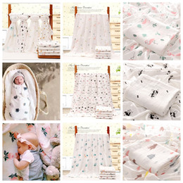 Infant stroller cover online shopping - 110 cm Bamboo Cotton Baby Printed Blanket Muslin Swaddle Wrap Soft Newborn Blankets Bath Infant Wrap Stroller Cover Play Mat AAA817