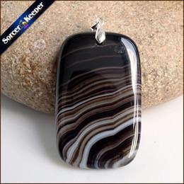 Wholesale Slides Pendants NZ - Fashion Women Man Necklace Pendant Natural Black Botswana Agates Stone Pendants Slide Healing Crystals for Jewelry Making WS176