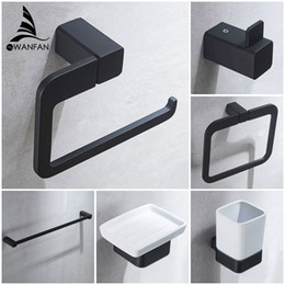 bathroom hardware Australia - Bathroom Series European Modern Bathroom Hardware Toilet Paper Holder Cup Holder Soap Dish Robe Hook WF-92200
