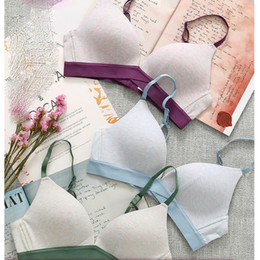 Natural Cotton Underwear Australia - Cotton thin cup lingerie for young girls intimates comfortable wire free student push up underwear small seamless woman bra set