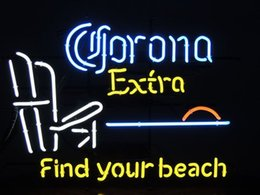 "Green Office Chairs Canada - Corona Extra Chair Find Your Beach Neon Sign Custom Handmade Real Glass Tube Sands Tour Motel Hotel Decoration Display Neon Signs 24""X20"""