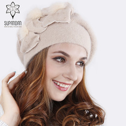 warming scarf Canada - SUPANDAN Knitted Hand Made Beret Hat Scarf Set Women Caps Thick Warm Floral Handmade Wool Windproof Hat Scarf Set V16117