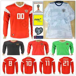 e0bd74222 2018 Russia Long Sleeve Jersey 10 DZAGOEV ARSHAVIN 11 KERZHAKOV KOKORIN  KOMBAROV POLOZ AMEDOV Custom Russian World Cup Soccer Football Shirt