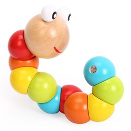 Toys For Cheap NZ - Children Wooden Caterpillar Toys Colorful Wriggle Carpenterworm Doll For Kids Funny Intelligence Toys Gifts Factory Cheap Free DHL A854