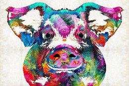Colorido porco arte grito apelação impressão Moderna Arte Da Parede Da Lona para Casa e Decoração Do Escritório, 24X36 Polegada, Giclee Arte para Decoração Da Parede thoug venda por atacado