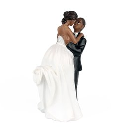Wholesale Cake Toppers for Wedding Party African American Romance Happy Bride and Groom Wedding Party Cake Decoration Home Supplies Hot Sale