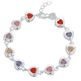 China Fashion Jewelry Top quality 925 silver inlaid zircon heart charm chain bracelet Free Shipping 10pcs supplier zircon crystal link bracelet suppliers