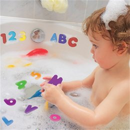 Cartoon Stick Wall NZ - 36pcs One Set Baby Bath Toys Letters Numbers Can Stick On The Wall Safety Environmental Learning Education Puzzle Toys 7 8kw Z