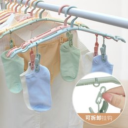 Function Hooks Australia - multi-function Plastic Portable hangers Travel folding hanger windproof drying rack non-slip Grooves clothes stand Hook Rack with clip