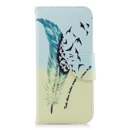 China Cool Feather Birds Phone Case Stand PU Leather Cover with Wallet Money Card Holder 165 Model for Option suppliers
