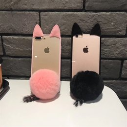 Cute plush iphone Cases online shopping - 3D Cute Cat Ear Phone Case For Iphone X XR XS MAX Plush TPU Phone Back Cover For Iphone Plus