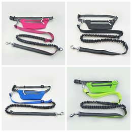 Multi Color Hand Bag Australia - Reflective Hands Free Running Dog Lead Leash with Waist Bag Dog Walking Adjustable Waist Belt Lined Pouch Dog LeashesGGA869