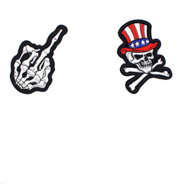 Chinese Embroidered Clothes NZ - Skull Clothes Embroidered Iron on Patches for Clothing DIY Apparel Accessories Garment Sewing Sticker