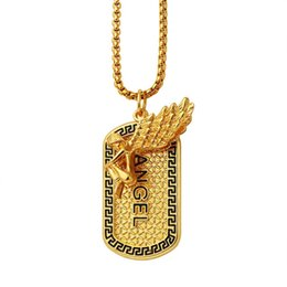 Dog Plates Australia - Men Women Angel Necklace 75cm Long Chains Rock Micro Hip Hop Fashion Jewelry Full Crystal Dog Tag Pendant Necklaces For Mens