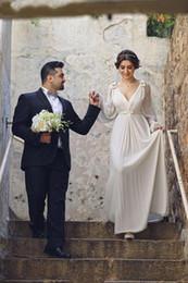 Greek Goddess plus size dress online shopping - beach greek goddess Wedding Dresses with Long Sleeve Cut bow Floor Length V Neck Elegant Chiffon garden plus size Bridal Gowns