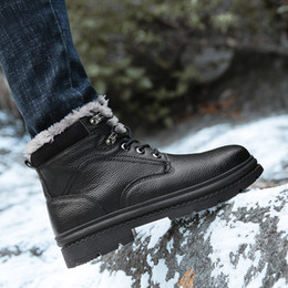 Cowhide Martin Boots Australia - High Quality Waterproof Fur Lined Martin Boots Safety-Toe Cowhide Leather Work Boot Composite Toe Resistant Anti-Puncture Safety Shoes