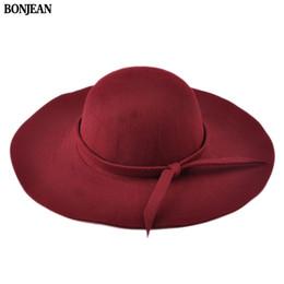 black fedora hats for girls 2019 - BONJEAN 2017 Summer Ladies Women\'s Fedora Beach Sun Hats Floppy Wide Large Brim Cloche Bowler Woolen Cap 100% Wool
