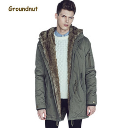 full length coats 2019 - Groundnut Brand Fashion Thickening Fleece Lining Warm Winter Parkas Men Plus Size Medium Length Cotton Coat Outerwear Wi
