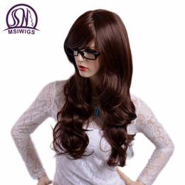 China MSIWIGS Long Wavy Brown Color Wigs with Bangs Natural Full Hair Synthetic Wigs for Women Heat Resistant Fiber cheap long brown wavy hair bangs suppliers