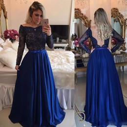 $enCountryForm.capitalKeyWord NZ - Royal Blue A-line Illusion Back Prom Dress Jewel Neck Full Sleeve Lace Appliques Bow Tie Sash Formal Gown Chiffon Long Prom Dress