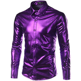 5887154fc9e Night Club Wear Men  S Elastic Shirts Slim Fit Fashion Metallic Shiny Shirt  Mens Shirts Long Sleeve Chemise Homme Clothing