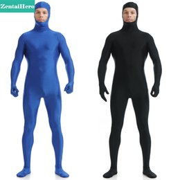 Discount lycra spandex costumes - ZentaiHero NEW Second Skin Tight Suits Lycra Zentai Suit Blue Open Face Spandex Unitard Mens Cosplay Full Body Bodysuits