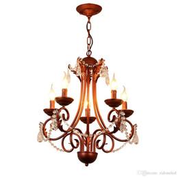 Vintage Art Deco Bronze UK - American classical iron crystal pendant lights K9 crystal chandelier lighting fixtures purple bronze chandeliers home decor 5 6 8 heads