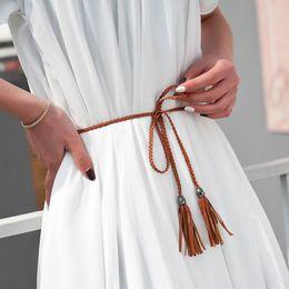 $enCountryForm.capitalKeyWord NZ - Hot Hand-Knitted Long leather Designer Braid Tassel Belts Women 130cm Thin Waist Rope Belts Fashion PU String Cummerbunds