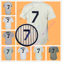 Button downs online shopping - Mickey Mantle Jersey Men Adult Baseball White Cream Pinstripe New York Pullover Button Down Home Away