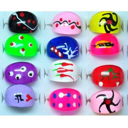 Band Paint Canada - Fashion Jewelry Lots 500pcs Mix Colors Painting Chunky Resin Lucite Kids Children Rings Wholesale Shiping [KR02*500]
