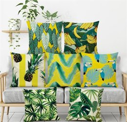 Wholesale New Green Plant Pillow Case Tree Leaves Banana Pineapple Fresh Pattern Pillowcase Home Hotel Office Sofa Cushion Cover