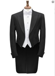 $enCountryForm.capitalKeyWord NZ - Black Groomsmen Peak Lapel Groom Tuxedos Tailcoat Morning Style Men Suits Wedding Prom Best Man Blazer( Jacket+Pants+Vest+Bow Tie )M175