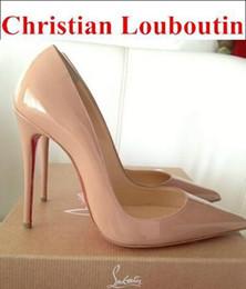 Женщины черный овчины ню лакированная кожа Poined Toe женщин насосы, 120 мм мода lRed нижней туфли на высоком каблуке для женщин свадебные туфли 88