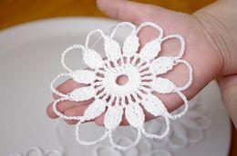 $enCountryForm.capitalKeyWord Canada - 10 PCS Set Crochet snowflake Hanging ornament White winter flower Crochet decorations White snowflakes Crochet ornaments