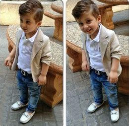 BaBy jeans jackets online shopping - Spring Autumn boys suit Gentleman Suit Shirt Jackets Jeans Baby Boys Clothes For Kids Designer Childrens Clothing Set