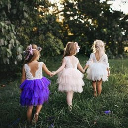 Sexy Backless Tutu Dress Canada - Baby Girls Dresses Clothes Summer Fashion TuTu Skirt Sexy Lace Backless Embroidery Flower Princess Dress Four colors Kids Clothing