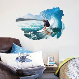 Large Metal Wall Art Australia - 3d Surfing Pic Wall Sticker Wallpaper Wall Picture Art Vintage Room Home Decor Kitchen Accessories Household Craft Suppllies