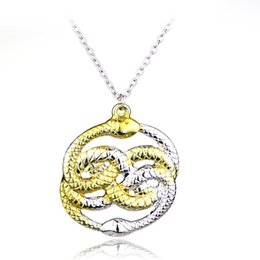 $enCountryForm.capitalKeyWord UK - The Never Ending Story Style Jewelr Fashion Double Snake Necklace Never Ending AURYN Ouroboros Snakes Pendant Necklace For Men Women